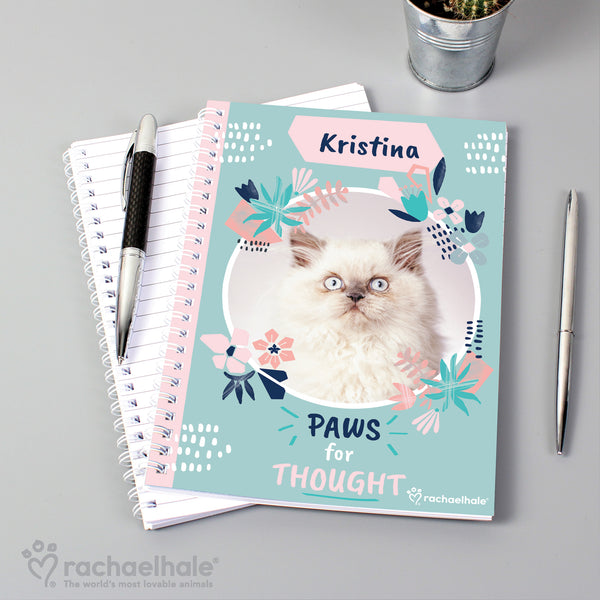 Personalised Rachael Hale 'Paws for Thought' Cat A5 Notebook lifestyle image