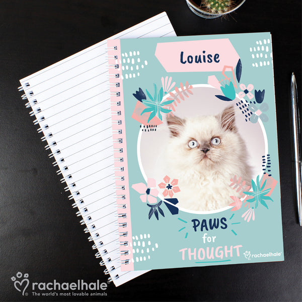 Personalised Rachael Hale 'Paws for Thought' Cat A5 Notebook with personalised name