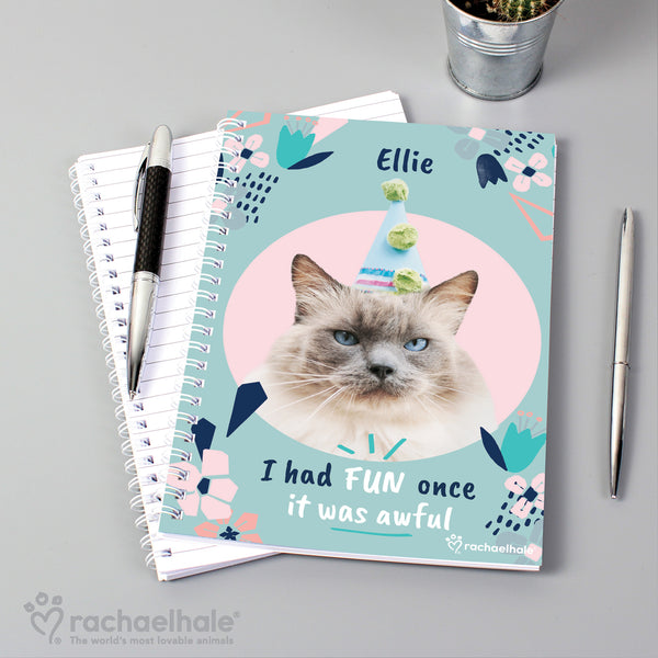 Personalised Rachael Hale 'I Had Fun Once' Cat A5 Notebook from Sassy Bloom Gifts - alternative view
