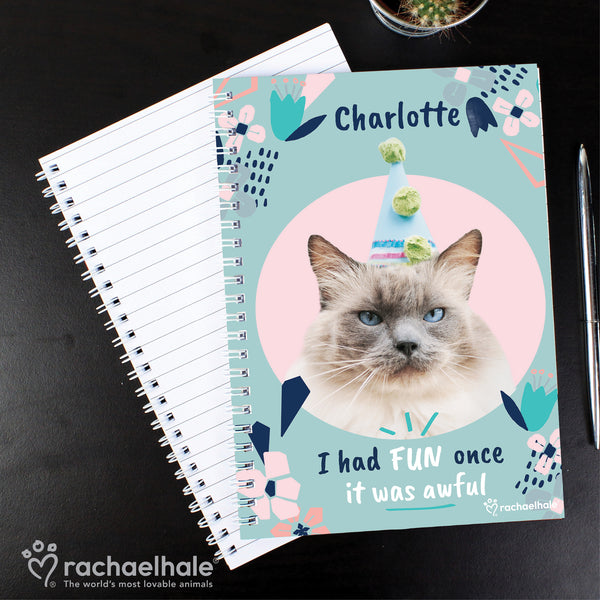 Personalised Rachael Hale 'I Had Fun Once' Cat A5 Notebook lifestyle image