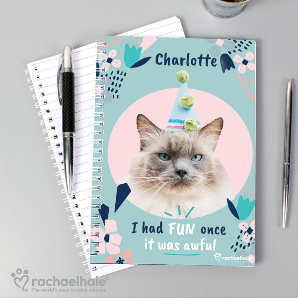 Personalised Rachael Hale 'I Had Fun Once' Cat A5 Notebook with personalised name