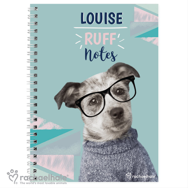 Personalised Rachael Hale 'Ruff Notes' Dog A5 Notebook white background