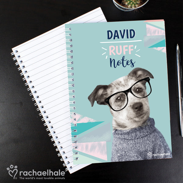 Personalised Rachael Hale 'Ruff Notes' Dog A5 Notebook lifestyle image