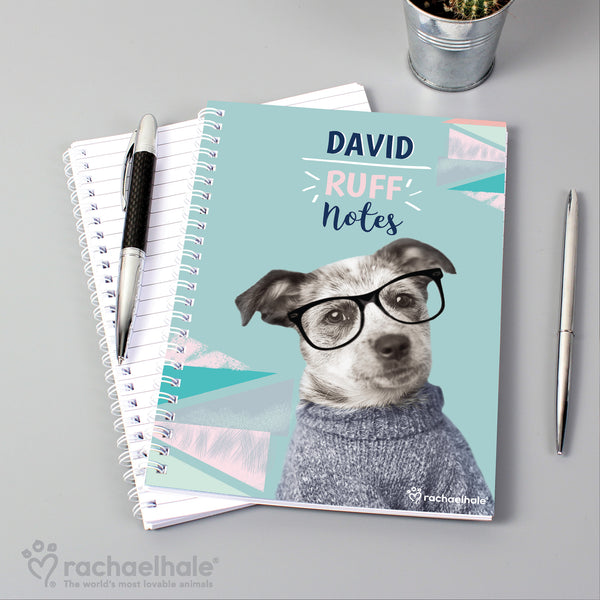 Personalised Rachael Hale 'Ruff Notes' Dog A5 Notebook with personalised name