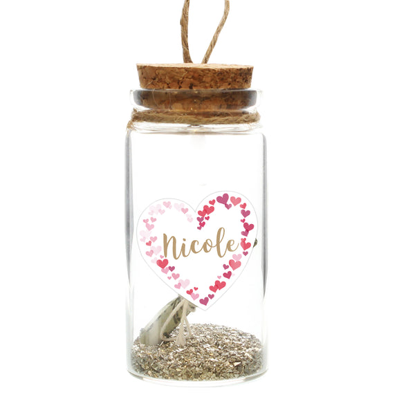 Personalised Valentine's Day Confetti Hearts Message in a Bottle white background