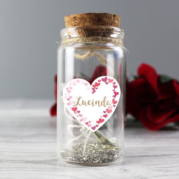 Personalised Valentine's Day Confetti Hearts Message in a Bottle with personalised name