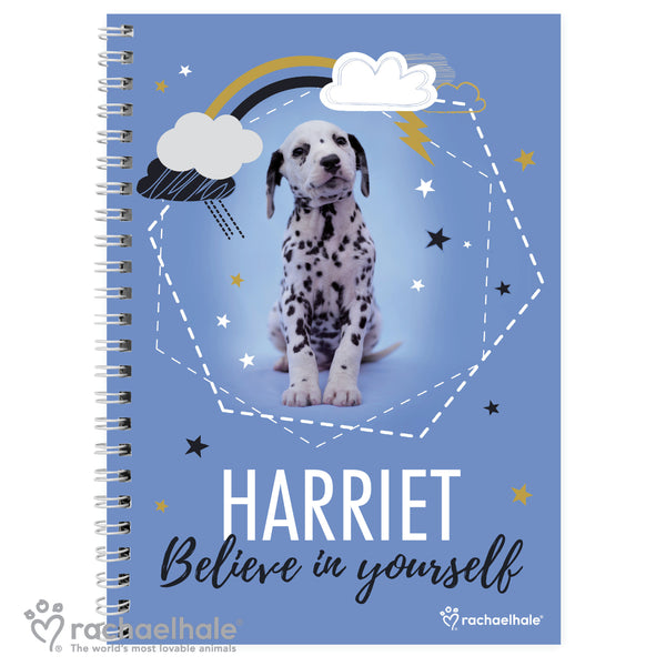 Personalised Rachael Hale Dalmatian A5 Notebook white background