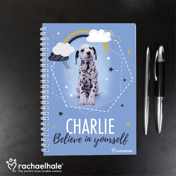 Personalised Rachael Hale Dalmatian A5 Notebook with personalised name