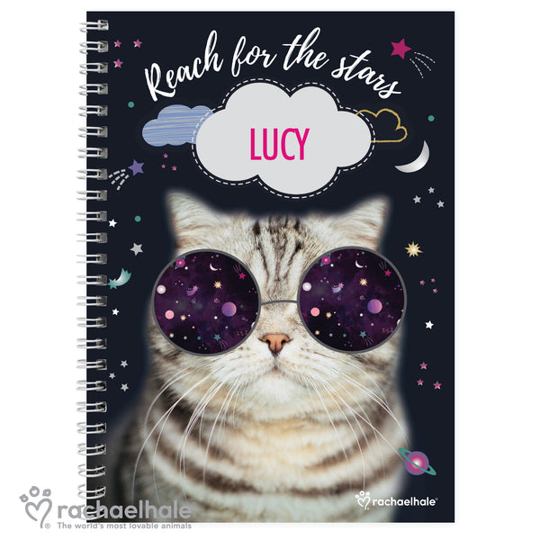 Personalised Rachael Hale Space Cat A5 Notebook white background