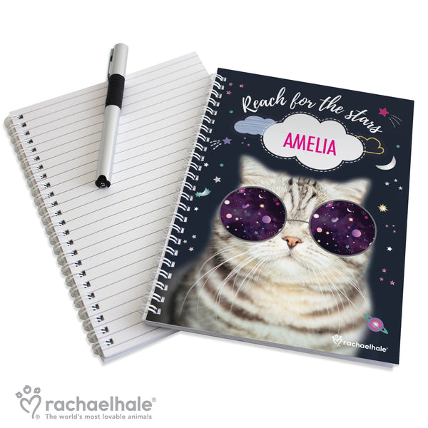 Personalised Rachael Hale Space Cat A5 Notebook from Sassy Bloom Gifts - alternative view