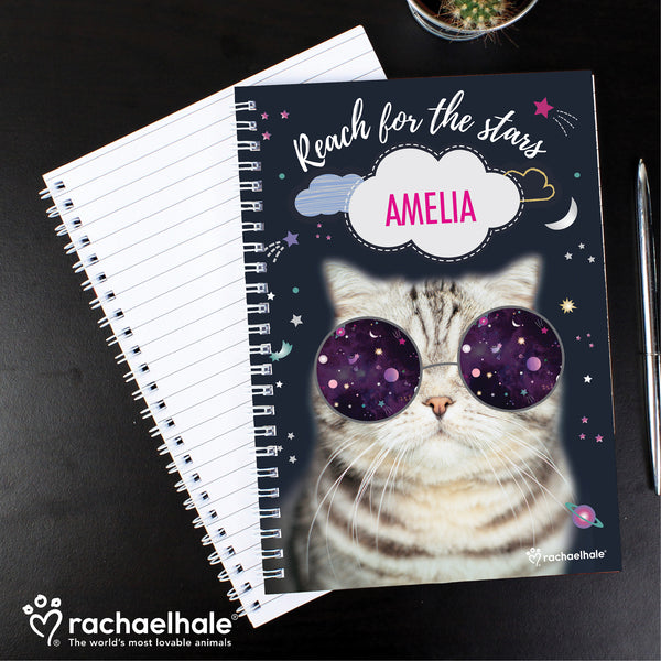 Personalised Rachael Hale Space Cat A5 Notebook lifestyle image