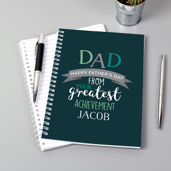 Personalised Dad's Greatest Achievement A5 Notebook lifestyle image