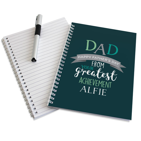 Personalised Dad's Greatest Achievement A5 Notebook with personalised name