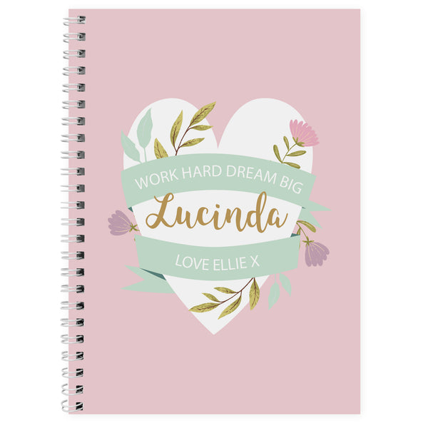 Personalised Floral Mother's Day A5 Notebook white background