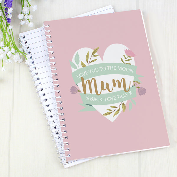 Personalised Floral Mother's Day A5 Notebook with personalised name