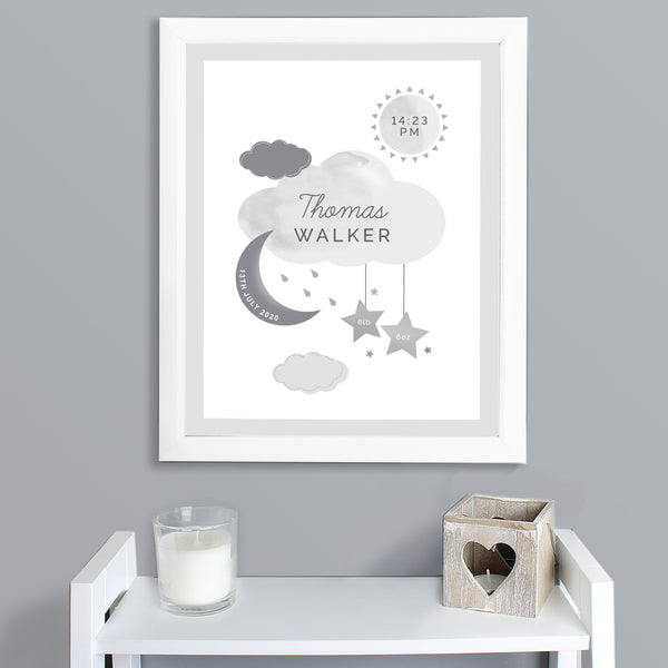 Personalised New Baby Moon & Stars White Framed Nursery Print lifestyle image