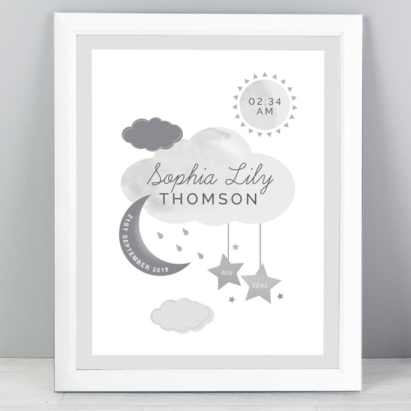 Personalised New Baby Moon & Stars White Framed Nursery Print with personalised name