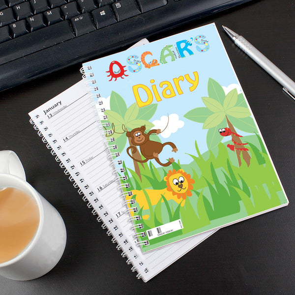 Personalised Animal Alphabet - A5 Diary white background