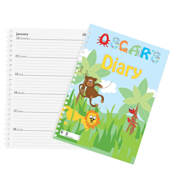 Personalised Animal Alphabet - A5 Diary with personalised name