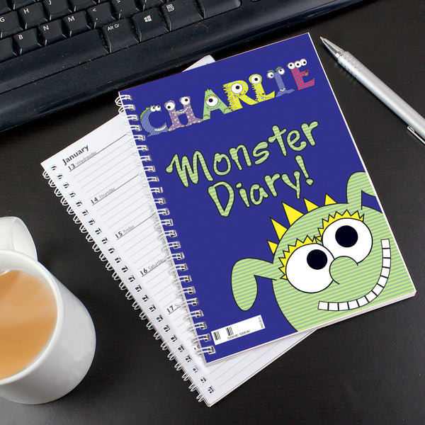 Personalised Little Monster - A5 Diary white background