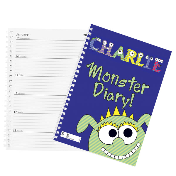 Personalised Little Monster - A5 Diary with personalised name