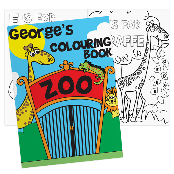 Personalised Zoo Colouring Book white background