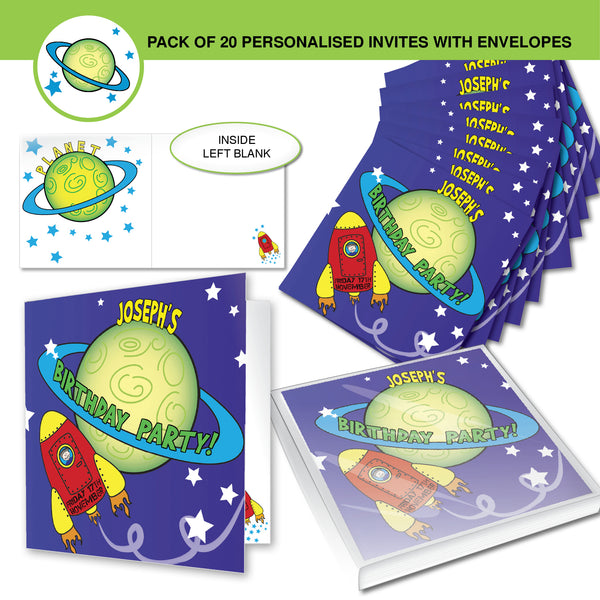 Personalised Space Party Pack of 20 Invitations white background