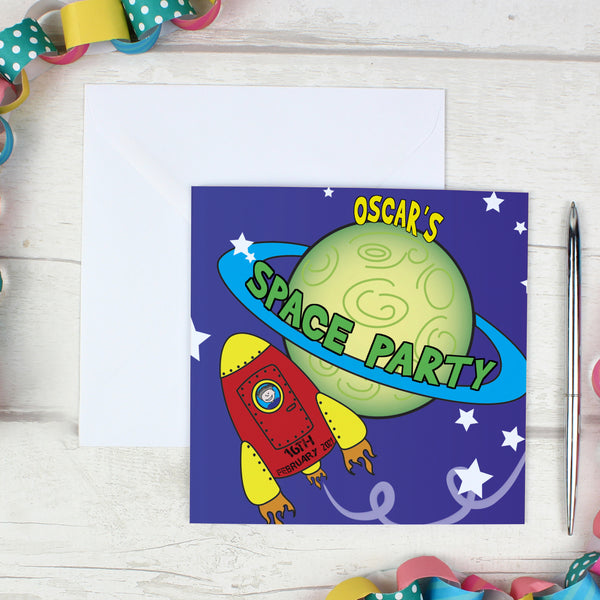 Personalised Space Party Pack of 20 Invitations lifestyle image