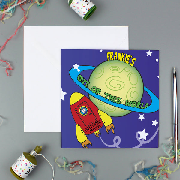Personalised Space Party Pack of 20 Invitations with personalised name