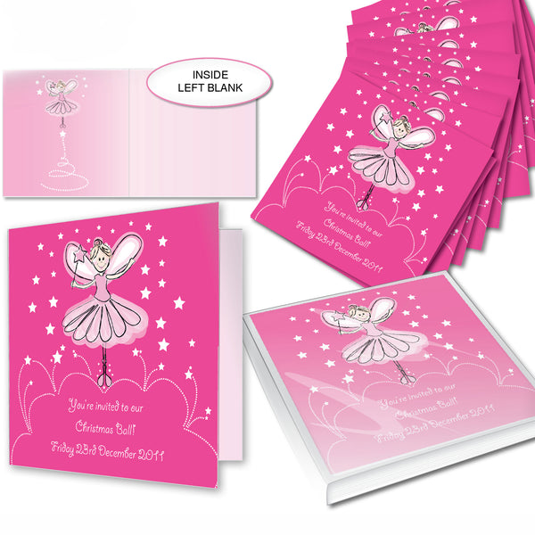 Personalised Christmas Fairy Pack of 20 Invitations white background