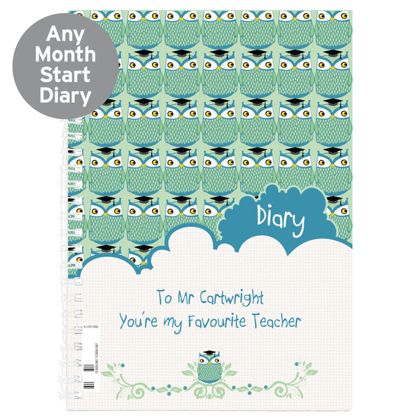 Personalised Mr Owl Teacher A5 Diary from Sassy Bloom Gifts - alternative view