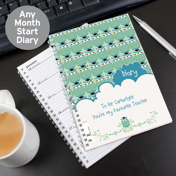 Personalised Mr Owl Teacher A5 Diary