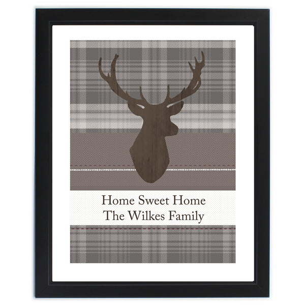 Personalised Highland Stag Black Framed Poster Print white background