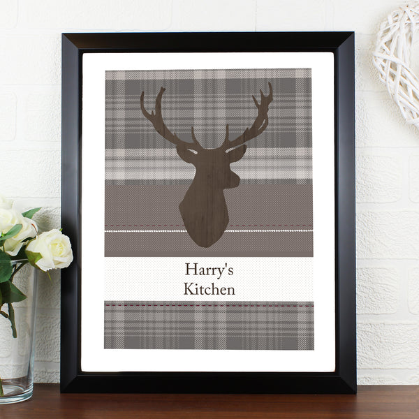 Personalised Highland Stag Black Framed Poster Print from Sassy Bloom Gifts - alternative view