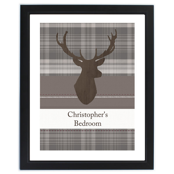Personalised Highland Stag Black Framed Poster Print lifestyle image