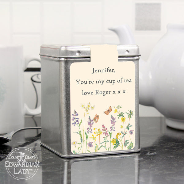 Personalised Country Diary Wild Flowers Tea & Tin white background