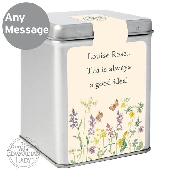 Personalised Country Diary Wild Flowers Tea & Tin with personalised name