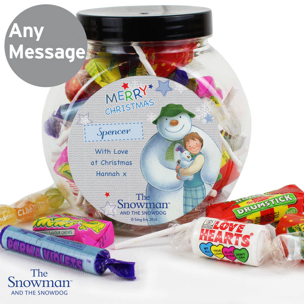 Personalised The Snowman and the Snowdog Blue Sweet Jar lifestyle image
