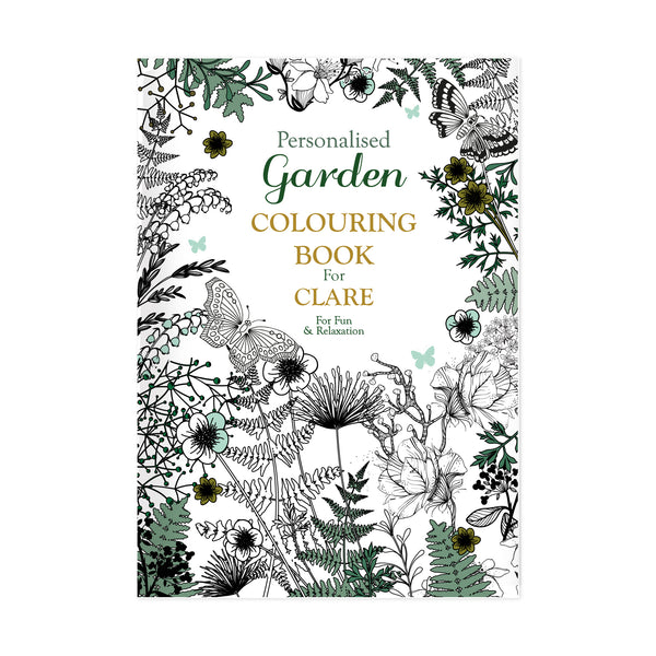 Personalised Gardening Colouring Book white background