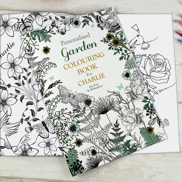 Personalised Gardening Colouring Book with personalised name