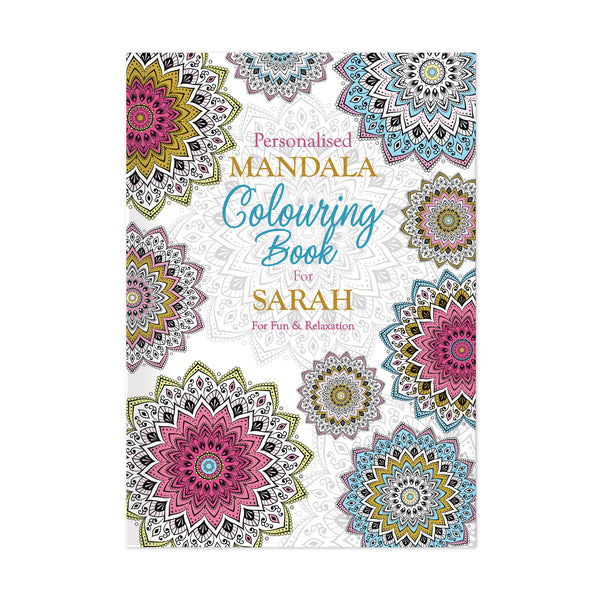 Personalised Mandala Colouring Book white background