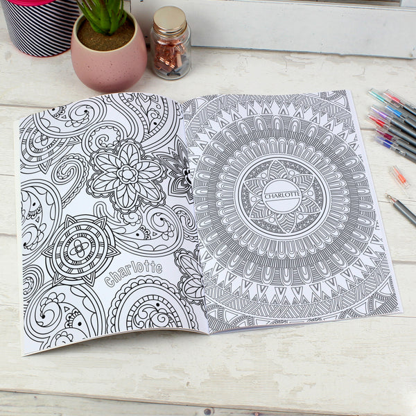 Personalised Mandala Colouring Book with personalised name