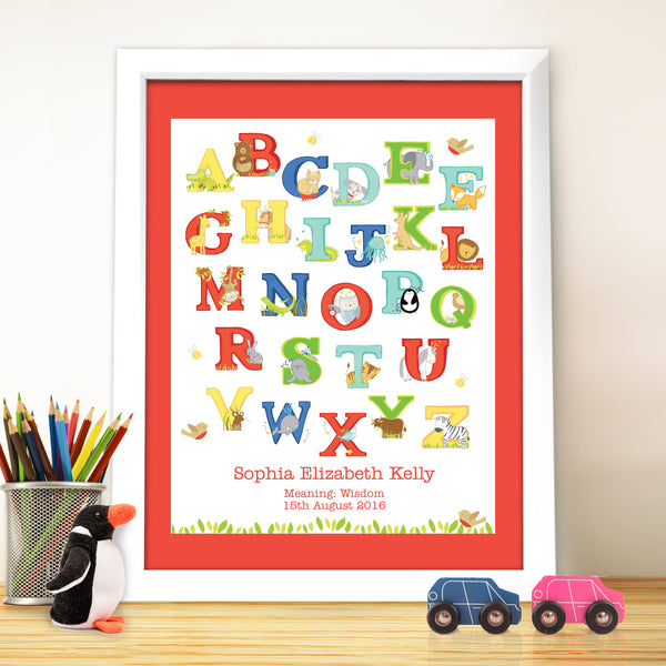 Personalised Animal Alphabet White Framed Poster Print from Sassy Bloom Gifts - alternative view