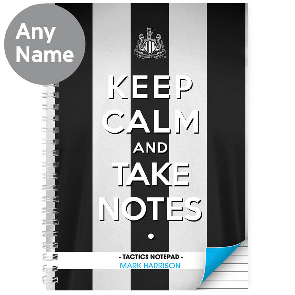 Personalised Newcastle United Keep Calm A4 Notebook lifestyle image