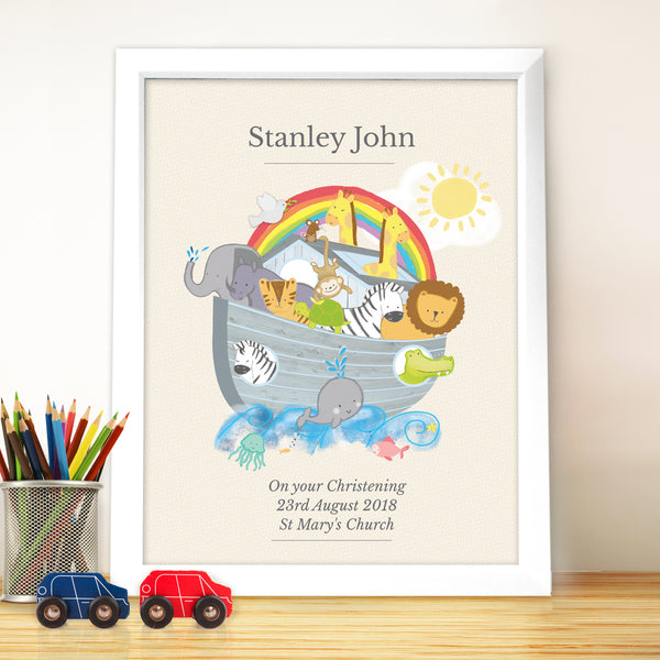 Personalised Noahs Ark White Framed Poster Print from Sassy Bloom Gifts - alternative view