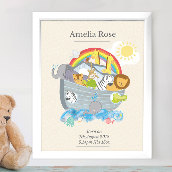 Personalised Noahs Ark White Framed Poster Print lifestyle image