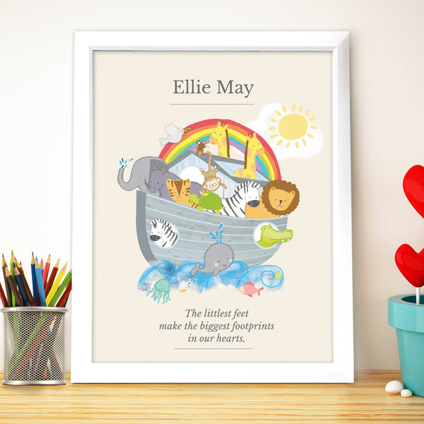 Personalised Noahs Ark White Framed Poster Print with personalised name