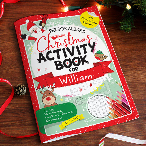 Personalised Christmas Activity Book with Stickers white background