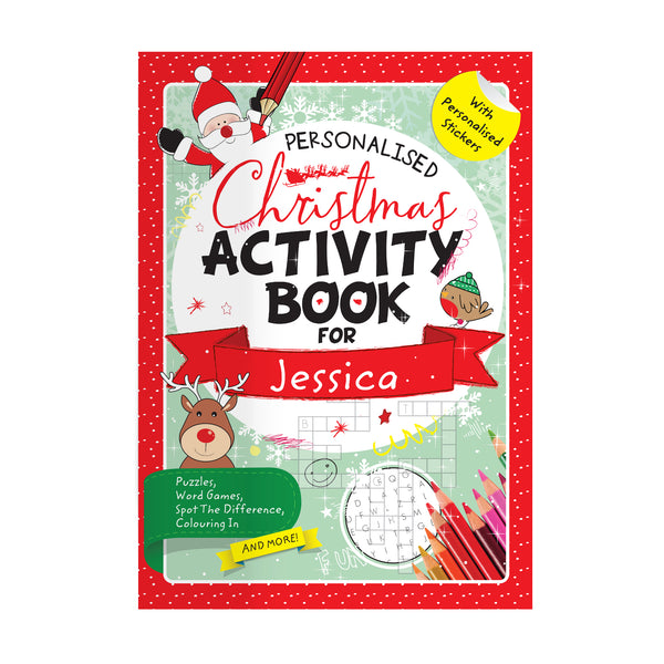 Personalised Christmas Activity Book with Stickers lifestyle image