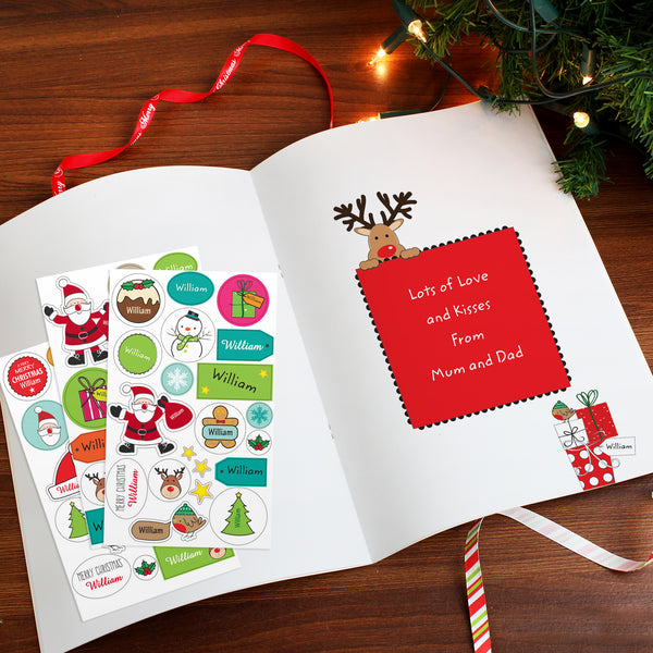 Personalised Christmas Activity Book with Stickers with personalised name